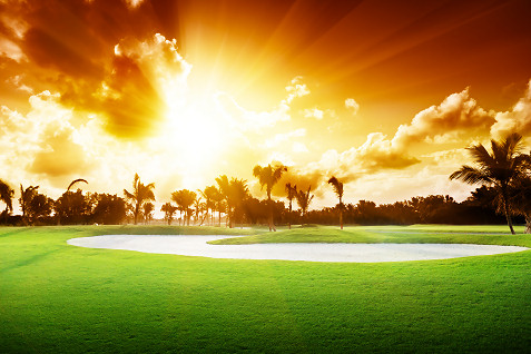 sunrise on golf course